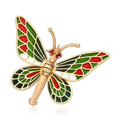 C. 1980 Vintage Multicolored Enamel Butterfly Pin in 18kt Yellow Gold, , default