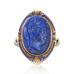 C. 1910 Vintage Carved Lapis Profile and Blue Enamel Ring in 14kt Yellow Gold, , default