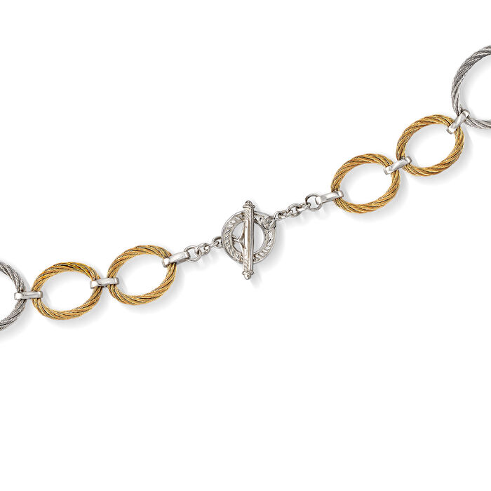 """ALOR """"Classique"""" Two-Tone Stainless Steel Cable Multi-Link Necklace"""