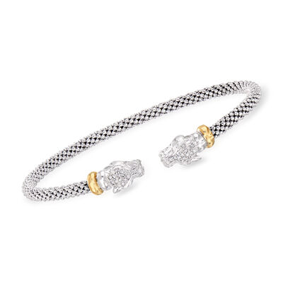 "Phillip Gavriel ""Popcorn"" .15 ct. t.w. Diamond Panther Cuff Bracelet in Sterling Silver and 18kt Yellow Gold"