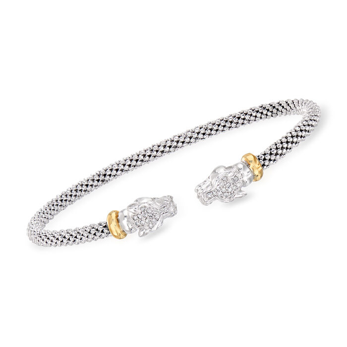 """Phillip Gavriel """"Popcorn"""" .15 ct. t.w. Diamond Panther Cuff Bracelet in Sterling Silver and 18kt Yellow Gold. 7"""""""