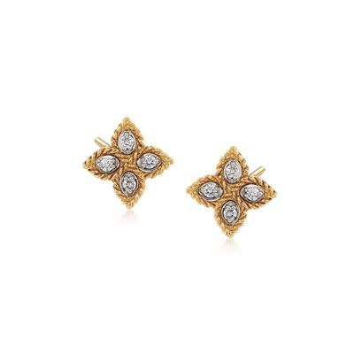 "Roberto Coin ""Princess"" 18kt Yellow Gold Flower Stud Earrings with Diamond Accents, , default"