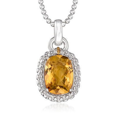 "Phillip Gavriel ""Popcorn"" 5.00 Carat Yellow Quartz Pendant Necklace in Sterling Silver with 18kt Yellow Gold"