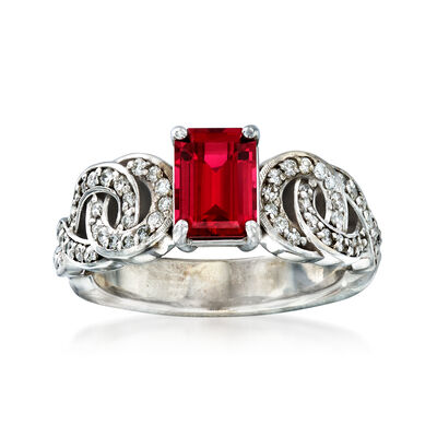 C. 1980 Vintage Synthetic Ruby and .60 ct. t.w. Diamond Ring in 10kt White Gold, , default