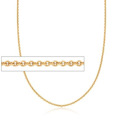 C. 2000 Vintage Tiffany Jewelry 3mm 18kt Yellow Gold Cable Chain Necklace, , default