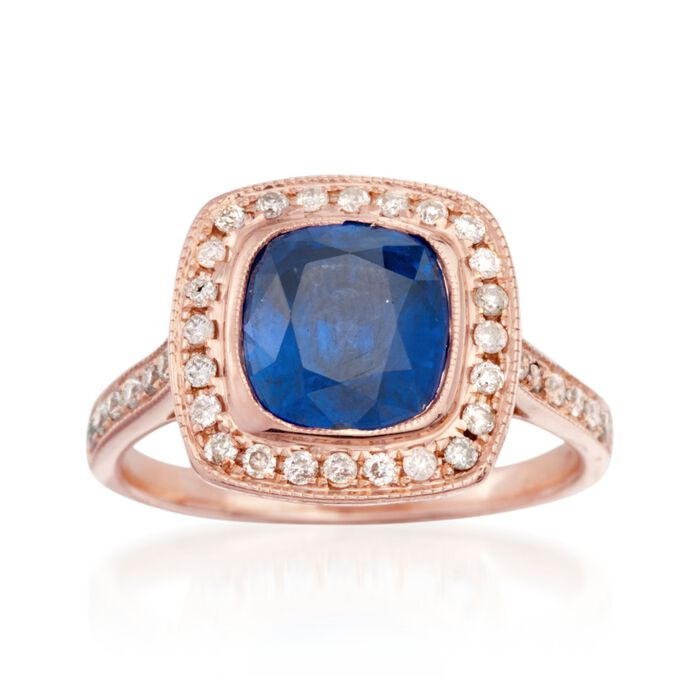 C. 2000 Vintage 3.15 Sapphire and .50 ct. t.w. Diamond Ring in 14kt Rose Gold. Size 6.5