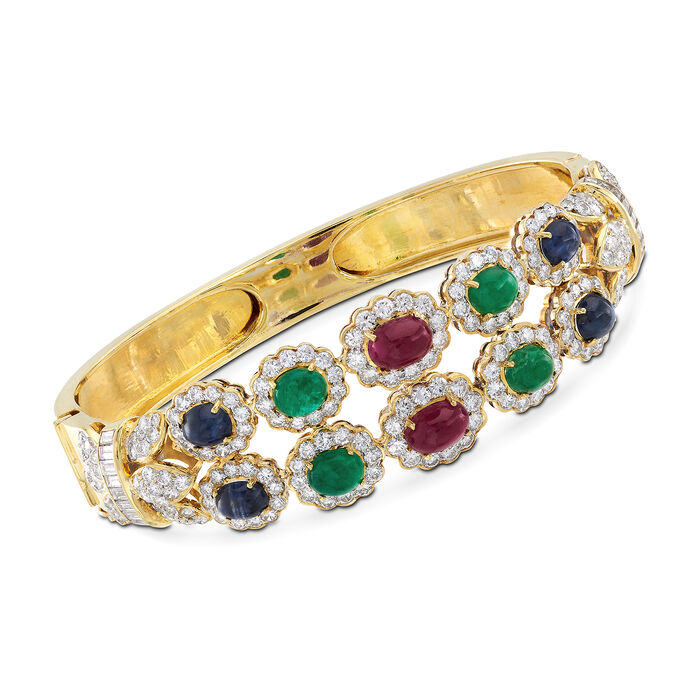 """C. 1980 Vintage 7.00 ct. t.w. Multi-Stone Bangle Bracelet in 14kt Yellow Gold With 5.10 ct. t.w. Diamonds. 7"""", , default"""