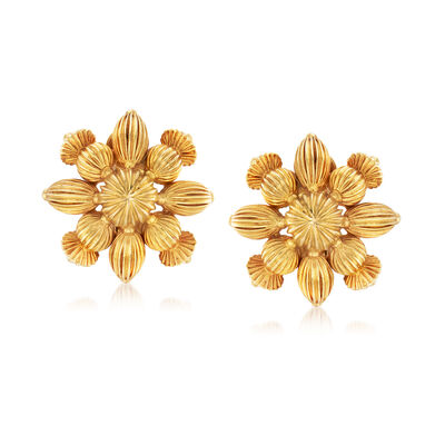 C. 1980 Vintage Lalaounis 18kt Yellow Gold Flower Clip-On Earrings