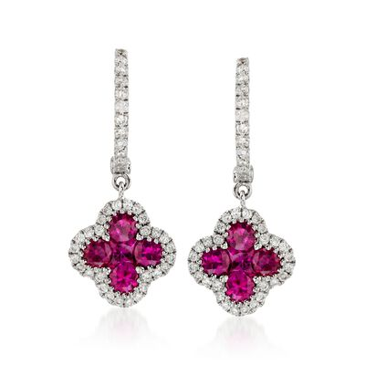 Gregg Ruth 1.07 ct. t.w. Ruby and .36 ct. t.w. Diamond Earrings in 18kt White Gold, , default