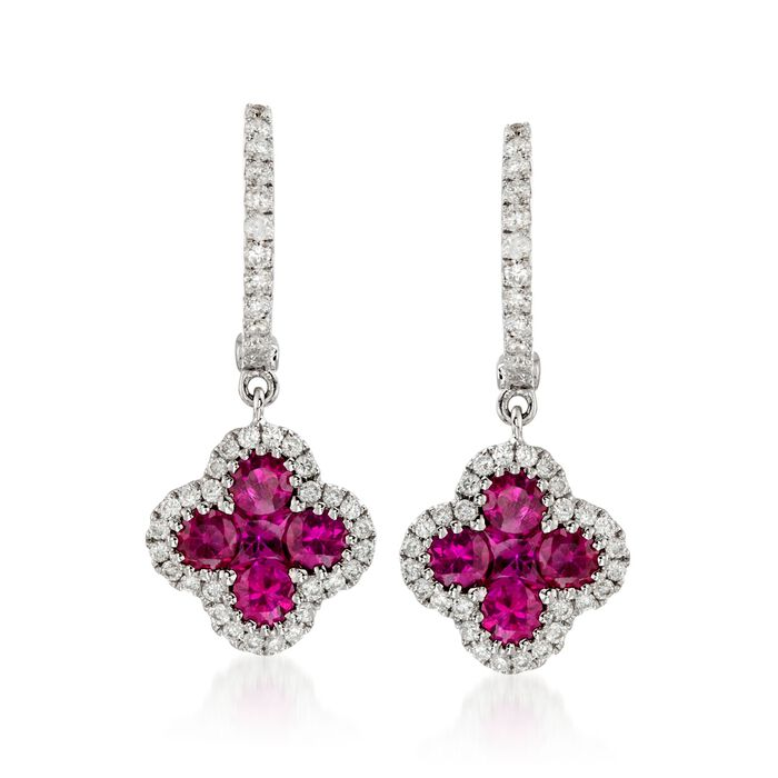 Gregg Ruth 1.07 Carat Total Weight Ruby and .36 Carat Total Weight Diamond Drops in 18-Karat White Gold, , default