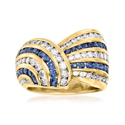 C. 1980 Vintage 1.40 ct. t.w. Sapphire and 1.35 ct. t.w. Diamond Twist Ring in 18kt Yellow Gold