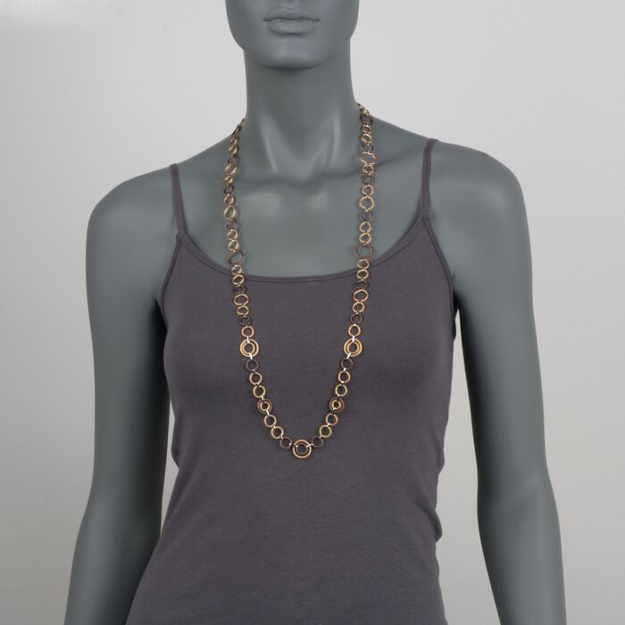 """ALOR Tri-Colored Cable Link Necklace in Stainless Steel and 18-Karat White Gold. 36"""", , default"""