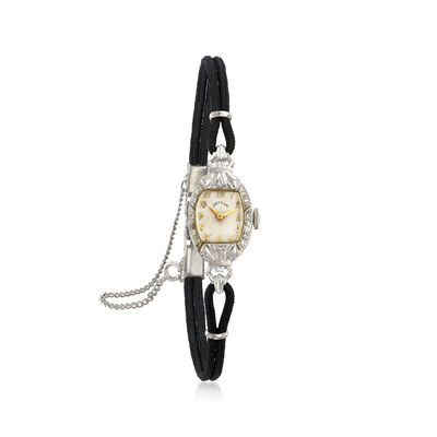C. 1950 Vintage Elgin Women's .10 ct. t.w. Diamond Mechanical 13mm Watch in 14kt White Gold, , default
