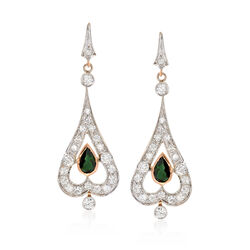 C. 1980 Vintage 2.75 ct. t.w. Diamond and 1.70 ct. t.w. Green Tourmaline Drop Earrings in 14kt Yellow Gold, , default