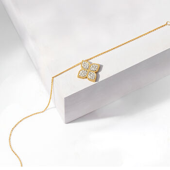 "Roberto Coin ""Princess"" .45 ct. t.w. Diamond Flower Necklace in 18kt Yellow Gold. 16.5"", , default"