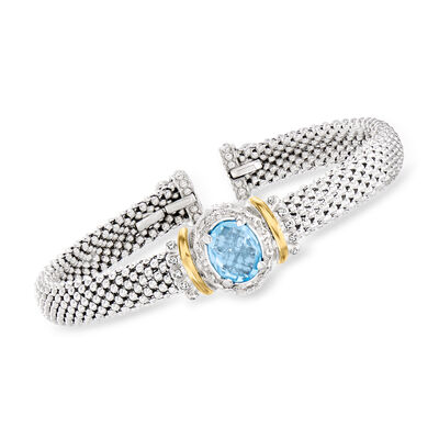 "Phillip Gavriel ""Popcorn"" 3.50 Carat Swiss Blue Topaz Cuff Bracelet with Diamond Accents in Sterling Silver with 18kt Yellow Gold"