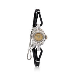 C. 1950 Vintage WomenS 15mm Mechanical Watch With Diamond Accents in 14kt White Gold, , default