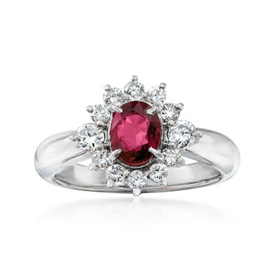 C. 1990 Vintage 1.07 Carat Ruby and .53 ct. t.w. Diamond Ring in Platinum, , default