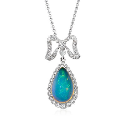 C. 1990 Vintage Opal and .65 ct. t.w. Diamond Bow Pendant Necklace in 14kt and 18kt White Gold