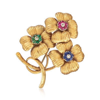 C. 1970 Vintage 1.00 ct. t.w. Multi-Gemstone Flower Pin with Diamond Accents in 18kt Yellow Gold