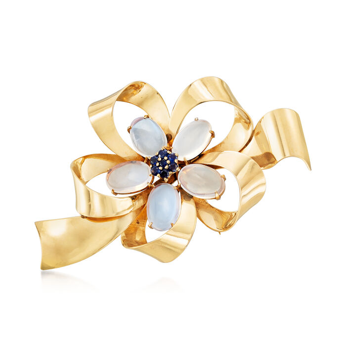 C. 1970 Vintage 8.50 ct. t.w. Moonstone and .55 ct. t.w. Sapphire Bow Pin in 14kt Yellow Gold, , default