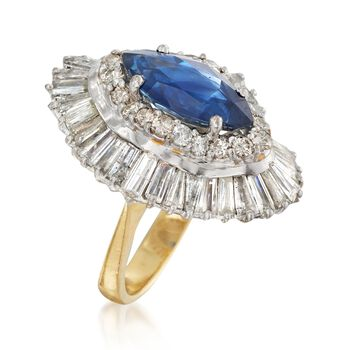 C. 1970 Vintage 2.80 Carat Sapphire and 4.50 ct. t.w. Diamond Navette Ring in 18kt Yellow Gold. Size 6, , default