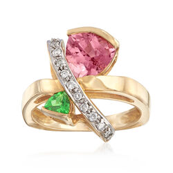 C. 1990 Vintage 1.70 Carat Pink Tourmaline and .20 Carat Tsavorite Ring With .20 ct. t.w. Diamonds in 14kt Yellow Gold, , default