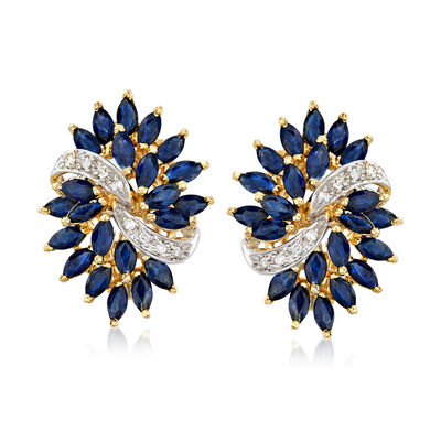 C. 1980 Vintage 3.35 ct. t.w. Sapphire and .12 ct. t.w. Diamond Cluster Earrings in 14kt Yellow Gold