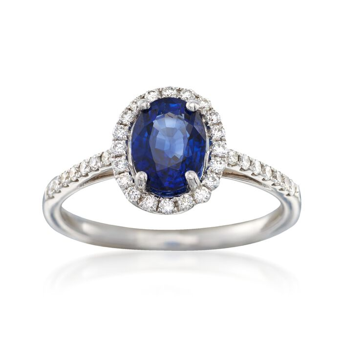 C. 2000 Vintage 1.45 ct. t.w. Sapphire and .34 ct. t.w. Diamond Ring in 18kt White Gold. Size 6.5, , default