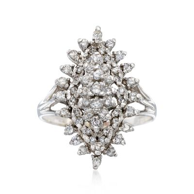 C. 1980 Vintage 1.00 ct. t.w. Diamond Navette Cluster Ring in 14kt White Gold, , default