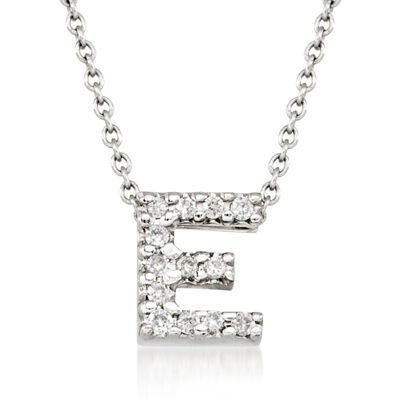 "Roberto Coin ""Love Letter"" Diamond Accent Initial ""E"" Necklace in 18kt White Gold, , default"