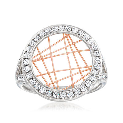 C. 1990 Vintage .55 ct. t.w. Diamond Labyrinth-Style Ring in 14kt Two-Tone Gold