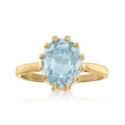 C. 1980 Vintage 2.90 Carat Synthetic Blue Spinel Ring in 10kt Yellow Gold