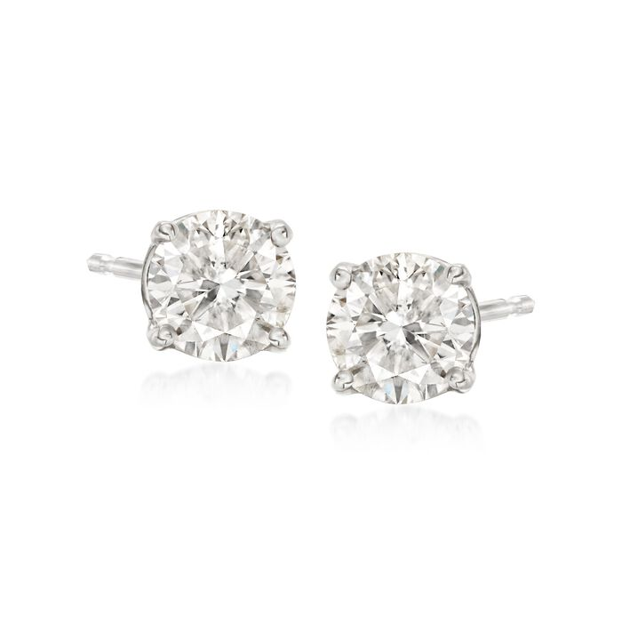 1.00 Carat Total Weight Diamond Studs in 14-Karat White Gold