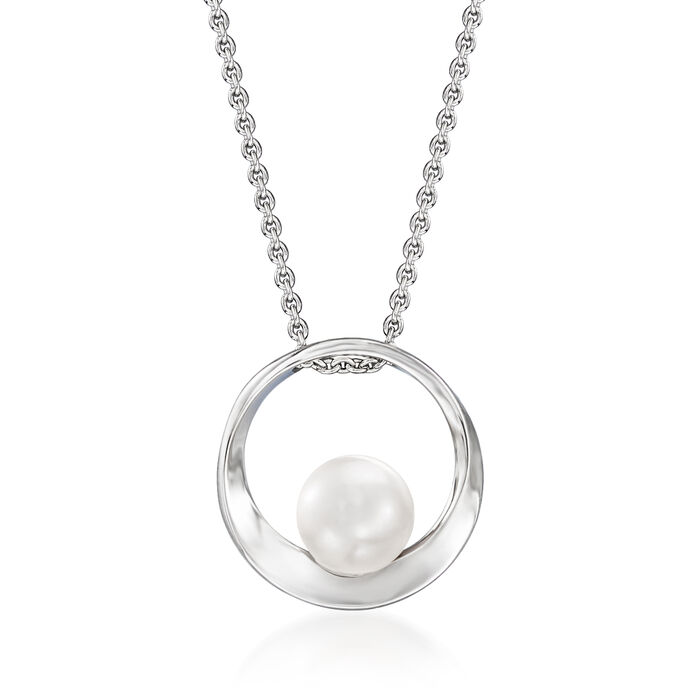 Mikimoto 7mm A+ Akoya Pearl Circle Pendant Necklace in 18kt White Gold