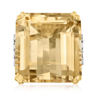 C. 1970 Vintage 43.15 Carat Citrine Ring with .50 ct. t.w. Diamonds in 18kt Yellow Gold