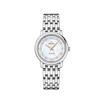 Omega De Ville Prestige Women's 27.4mm Mother-Of-Pearl Watch in Stainless Steel, , default