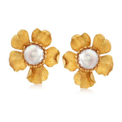 C. 1980 Vintage Tiffany Jewelry 13mm Mabe Pearl Flower Earrings in 14kt Yellow Gold, , default