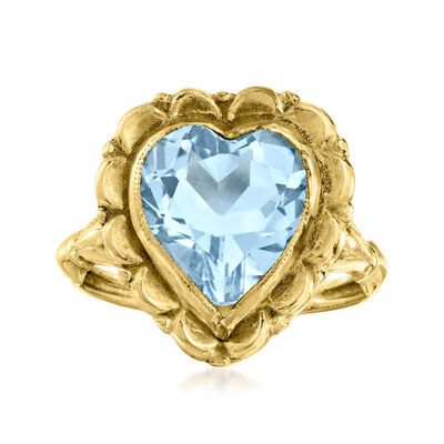 C. 1940 Vintage 3.70 Carat Sky Blue Topaz Heart Ring in 10kt Yellow Gold