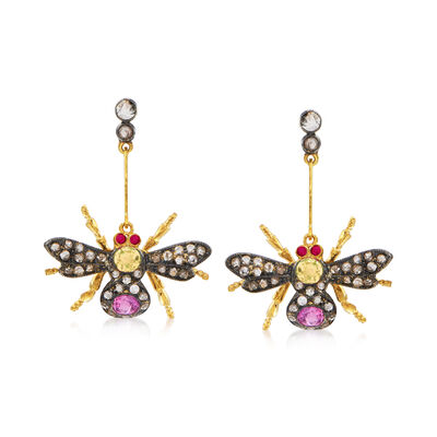 C. 1980 Vintage 1.20 ct. t.w. Pink and Yellow Sapphire and .75 ct. t.w. Diamond Bee Drop Earrings in Sterling Silver and 14kt Gold Over Sterling