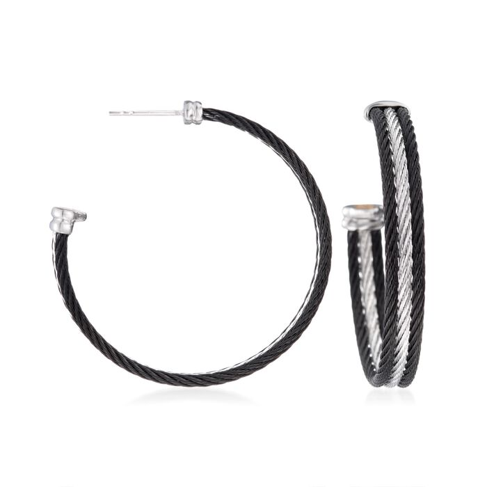 ALOR Classique Black and Gray Stainless Steel Cable Hoops with 18-Karat White Gold, , default