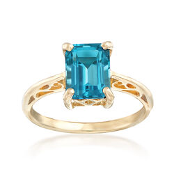 C. 1990 1.50 Carat Emerald-Cut Blue Topaz Ring in 10kt Yellow Gold, , default