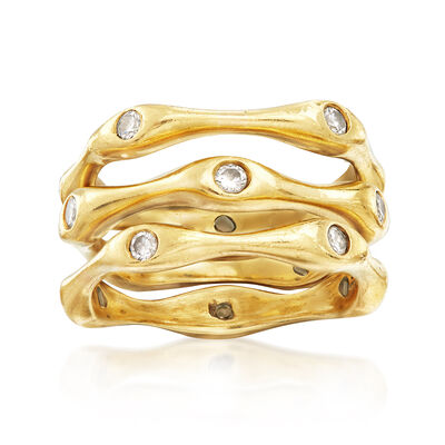 C. 1990 Vintage .50 ct. t.w. Diamond Ring Set: Three Bamboo Bands in 18kt Yellow Gold