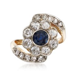 C. 1950 Vintage .55 Carat Sapphire and 1.25 ct. t.w. Diamond Floral Ring in Platinum and 14kt Yellow Gold, , default