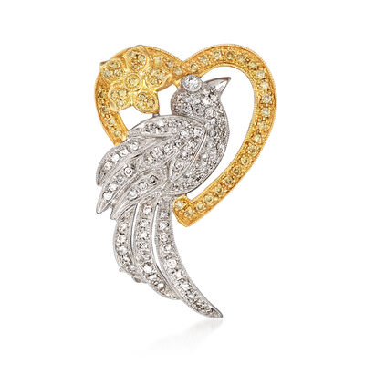 C. 1980 Vintage 1.15 ct. t.w. Yellow and White Diamond Bird in Heart Pin in 18kt Two-Tone Gold