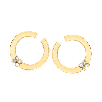 "Roberto Coin ""Love in Verona"" .15 ct. t.w. Diamond C-Hoop Earrings in 18kt Yellow Gold"