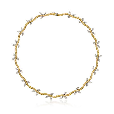 C. 1970 Vintage .75 ct. t.w. Diamond Leaf Necklace in 14kt Two-Tone Gold