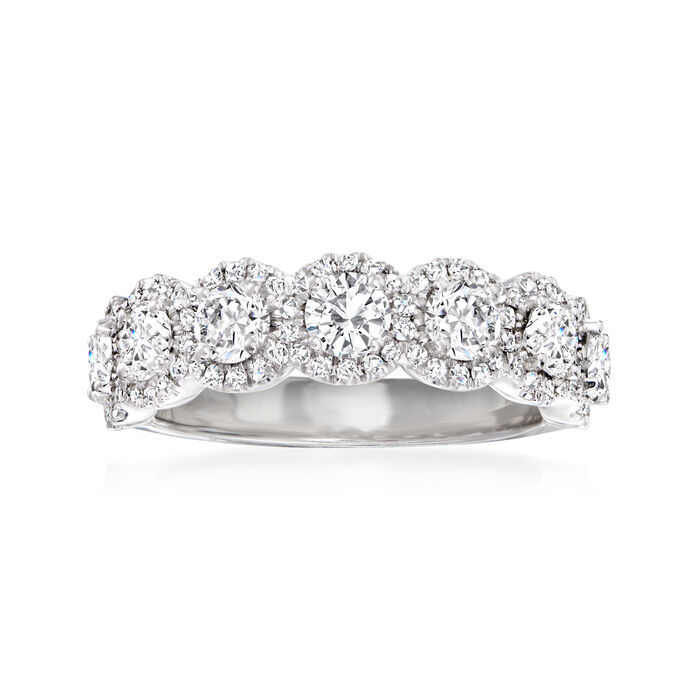 Henri Daussi 1.45 ct. t.w. Diamond Halo Ring in 18kt White Gold