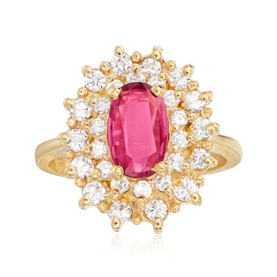 C. 1980 Vintage .80 Carat Ruby and .70 ct. t.w. Diamond Ring in 14kt Yellow Gold