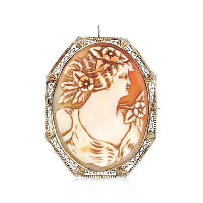 C. 1950 Vintage Pink Shell Cameo Pin/Pendant in 14kt White Gold